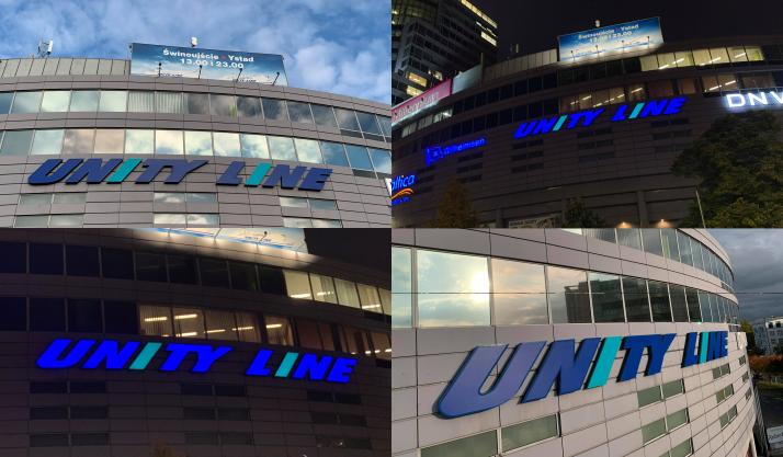 Wymiana loga UNITY LINE na budynku Pazim